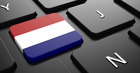 Flag of Netherlands - Button on Black Computer Keyboard. photo