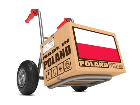 relocate: Cardboard Box with Flag of Poland and Made in Poland Slogan. Free Shipping Concept. Stock Photo