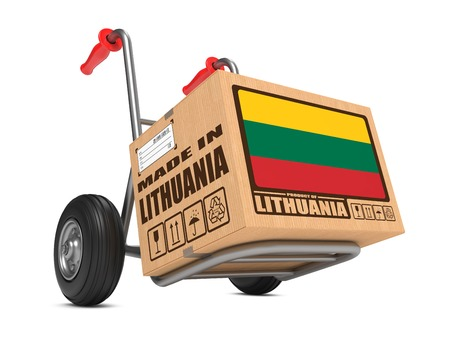 millboard: Cardboard Box with Flag of Lithuania and Made in Lithuania Slogan. Free Shipping Concept.
