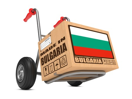 Cardboard Box with Flag of Bulgaria and Made in Bulgaria Slogan. Free Shipping Concept. photo