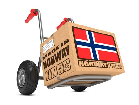 consignment: Cardboard Box with Flag of Norway and Made in Norway Slogan. Free Shipping Concept.
