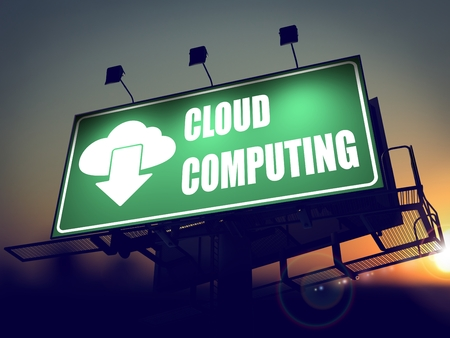 Cloud Computing - Green Billboard on the Rising Sun Background. photo