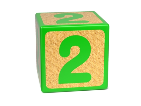 number two: Number 2 on Green Wooden Childrens Alphabet Block Isolated on White. Educational Concept.