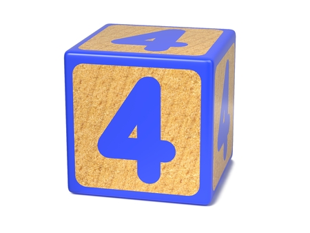 blue 3d blocks: Number 4 on Blue Wooden Childrens Alphabet Block Isolated on White. Educational Concept.