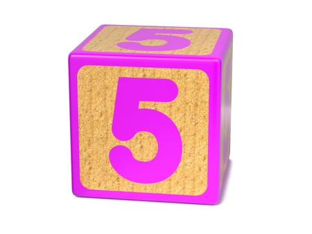 Number 5 on Pink Wooden Childrens Alphabet Block Isolated on White. Educational Concept. photo