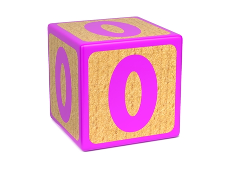 Number 0 on Pink Wooden Childrens Alphabet Block Isolated on White. Educational Concept. photo
