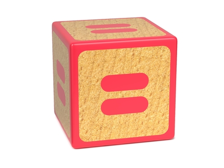 Equal Sign on Red Wooden Childrens Alphabet Block Isolated on White. Educational Concept.