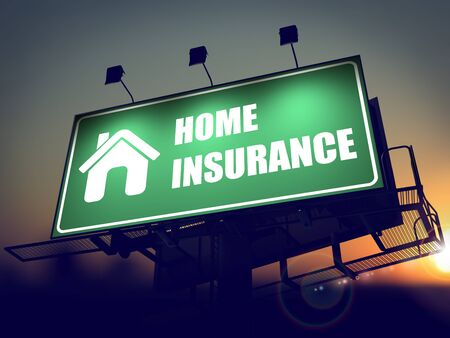Home Insurance with Home Icon - Green Billboard on the Rising Sun Background. Stock Photo - 24380272
