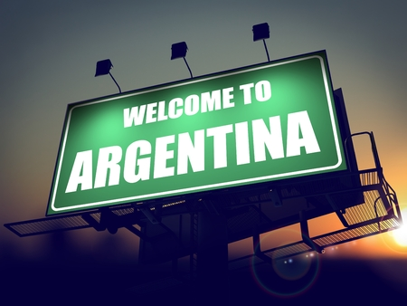 Welcome to Argentina - Green Billboard on the Rising Sun Background. photo