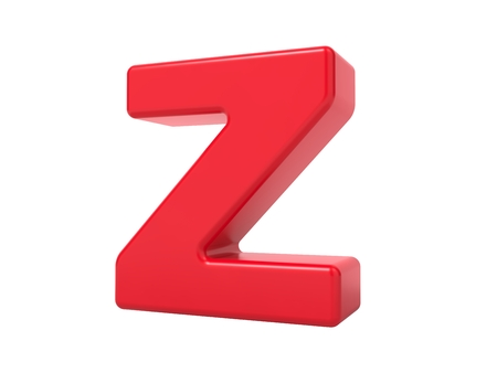 Red 3D Plastic Letter Z Isolated on White. Stock Photo