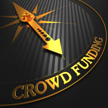 funding: Crowd Funding - Golden Compass Needle on a Black Field Pointing.