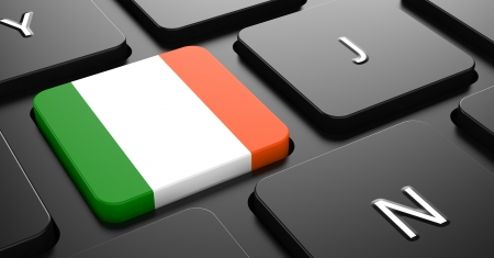 Flag of Ireland - Button on Black Computer Keyboard. photo