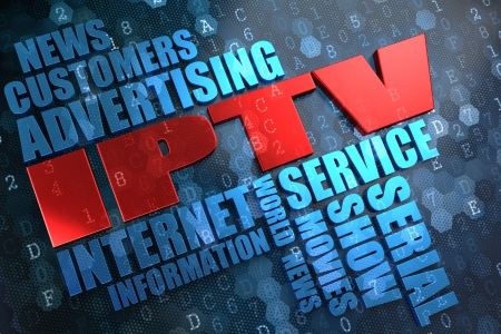 IPTV - Wordcloud Concept. The Word in Red Color, Surrounded by a Cloud of Blue Words. Stock Photo