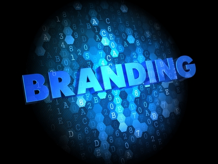 Branding  - the Words in Blue Color on Dark Digital Background. photo