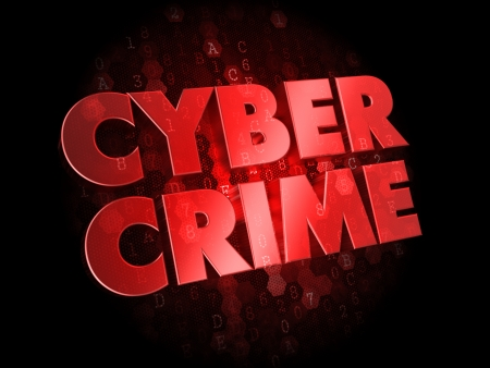 cyber crime: Cyber Crime - Red Color Text on Dark Digital Background. Stock Photo