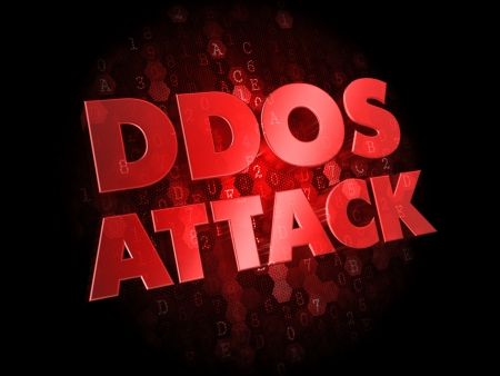 DDoS Attack - Red Color Text on Dark Digital Background. photo