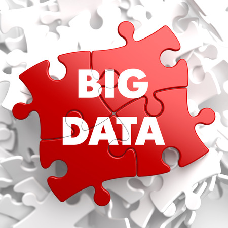 big: Big Data on Red Puzzle on White Background.