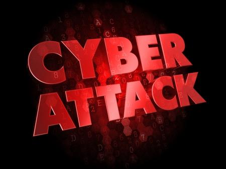 programm: Cyber ??Attack - Colore testo rosso su sfondo scuro Digital.