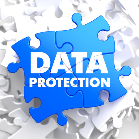 Data Protection on Blue Puzzle on White Background.