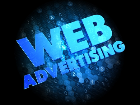 Web Advertising - Blue Color Text on Dark Digital Background.