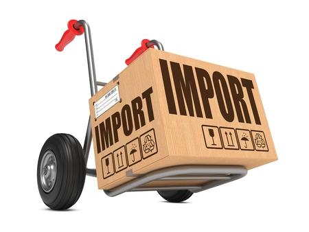 一方輸入スローガンと段ボール箱トラックの白い背景。