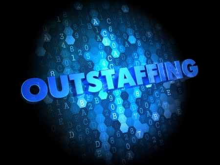 peo: Outstaffing Concept on Dark Blue Digital Background.