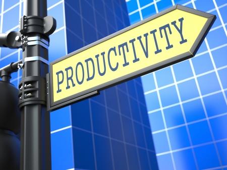 Productivity on Yellow Roadsign on Blue Urban Background.