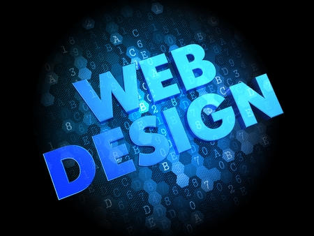 Web Design - Blue Color Text on Dark Digital Background. photo
