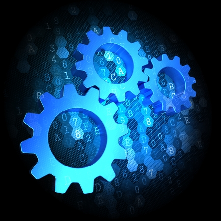 Blue Cogwheel Gear Mechanism Icon on Dark Digital Background. photo