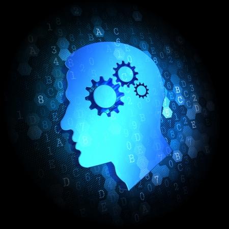 Psychological Concept on Dark Blue Digital Background.