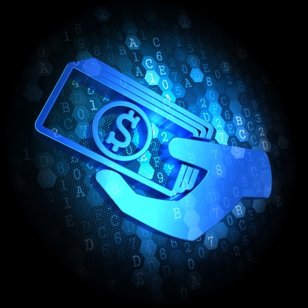 endowment: Blue Icon of Money in the Hand on Dark Digital Background.