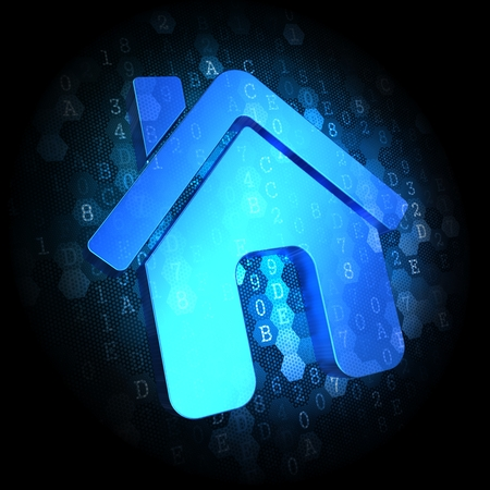 Blue Home Icon on Dark Digital Background. Stock Photo - 25044532