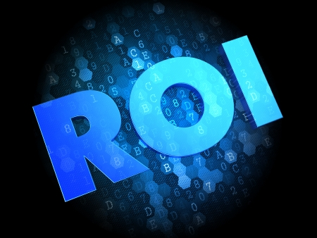 ROI on Dark Blue Digital Background. photo