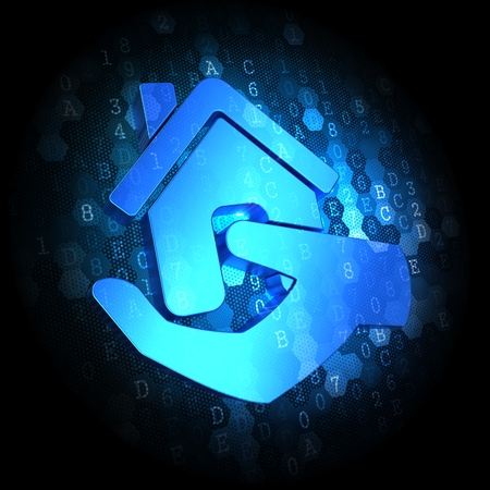 Blue Home in Hand Icon on Dark Digital Background. Stock Photo - 25044538