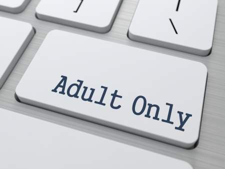Adult Only Button on White Computer Keyboard. photo