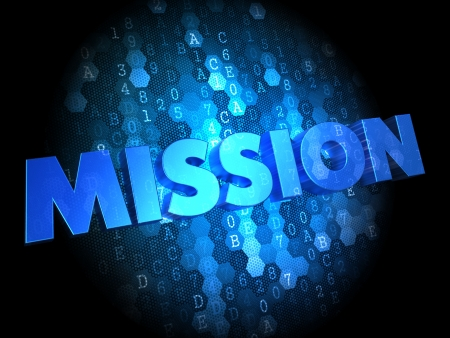 Mission in Blue Color on Dark Digital Background. photo