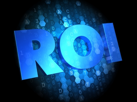 coefficient: ROI - Text in Blue Color on Dark Digital Background.