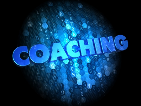 Coaching- Text in Blue Color on Dark Digital Background. photo