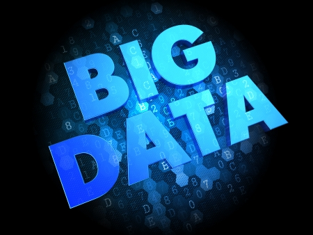 Big Data - Text in Blue Color on Dark Digital Background. photo