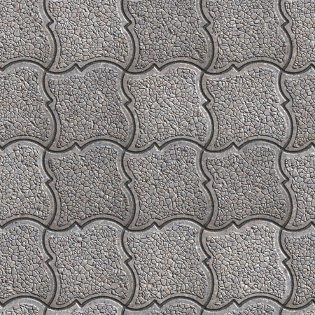 Gray Granular Pavement of Figured Squares. Seamless Tileable Texture. photo