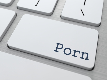 Porn Button on White Computer Keyboard. photo