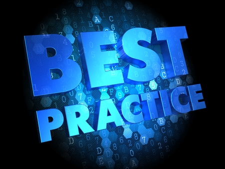 proven: Best Practice - Text in Blue Color on Dark Digital Background. Stock Photo