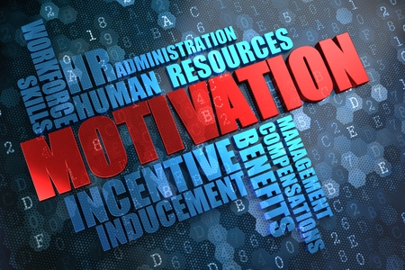 prompting: Motivation - Wordcloud Concept. Red Word in Blue Wordcloud on Digital Background.