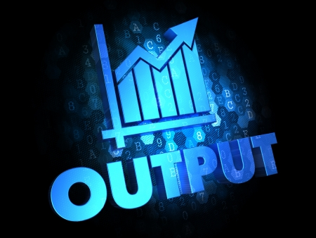 aptitude: Output with Growth Chart - Blue Color Text on Dark Digital Background. Stock Photo