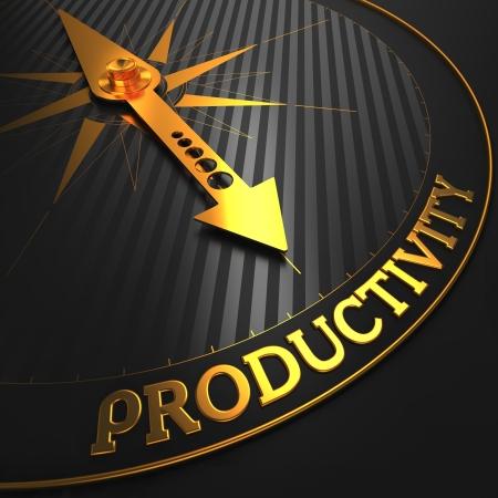 eficiencia: Productividad - La brújula dorada Aguja en un Señalando Negro Campo.