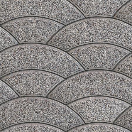 figured: Gray Granular Wavy Arcuate Figured Paving Slabs. Seamless Tileable Texture.