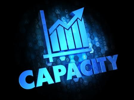 容量の成長チャート - 暗いデジタル背景に青の色テキスト。
