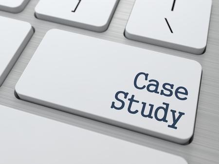 case: Case Study - Button on White Modern Computer Keyboard. Stock Photo