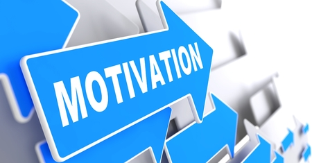 prompting: Motivation on Blue Arrow on a Grey Background.
