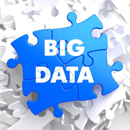 Big Data on Blue Puzzle on White Background. photo